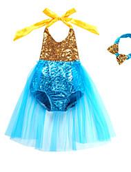 cheap -Kids Toddler Girls' Active Cute The Little Mermaid Patchwork Backless Bow Mesh Sleeveless Swimwear Fuchsia