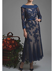 cheap -Sheath / Column Mother of the Bride Dress Elegant Bateau Neck Ankle Length Lace Tulle 3/4 Length Sleeve with Sash / Ribbon Appliques 2020