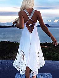 cheap -Women's Asymmetrical A Line Dress - Sleeveless Solid Color Strap V Neck White Black Blushing Pink Green S M L XL XXL XXXL XXXXL XXXXXL