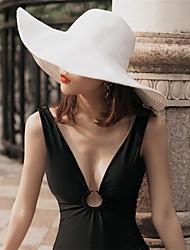 Недорогие -Жен. В стиле 1930-х Соломенная шляпа Лён Акрил,Однотонный Весна Лето Красный Хаки Тёмно-синий