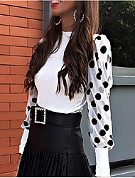 cheap -Women's Polka Dot Mesh Patchwork Shirt Daily White