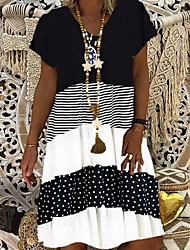cheap -Women's Shift Dress - Short Sleeves Print V Neck Elegant Black Khaki Gray S M L XL XXL XXXL