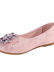 cheap -Girls' Comfort / Flower Girl Shoes Microfiber Flats Lace Little Kids(4-7ys) / Big Kids(7years +) Rhinestone / Sparkling Glitter White / Pink / Gold Spring / Fall / Party & Evening / Rubber