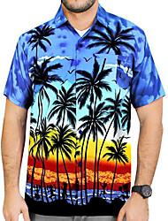 cheap -Men's Geometric Shirt Sports Red / Orange / Royal Blue / Navy Blue / Light Blue / Short Sleeve