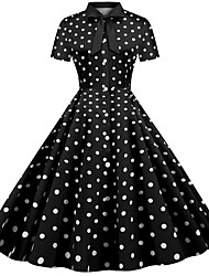 cheap -Women's Swing Dress - Short Sleeves Polka Dot Striped Patchwork Print Shirt Collar Vintage Style Street chic Party Daily Belt Not Included Black Red Fuchsia Dark Gray S M L XL XXL / Cotton