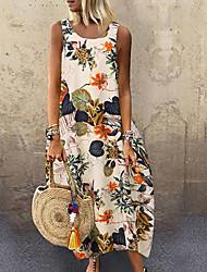 cheap -Women's Plus Size Maxi Loose Dress - Sleeveless Floral Leaf Print Summer Boho Holiday Vacation Beach Loose 2020 Red Yellow Navy Blue M L XL XXL XXXL XXXXL XXXXXL