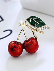 cheap -Women's Cubic Zirconia Brooches Classic Cherry Stylish Simple Classic Brooch Jewelry Light Green Dark Green For Party Gift Daily Work Festival