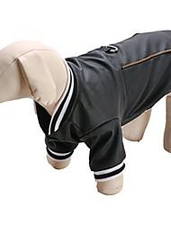 cheap -Dog Vest Winter Dog Clothes Black Black Costume PU Leather Animal Fashion S M L