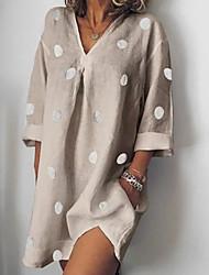 cheap -Women's A Line Dress - 3/4 Length Sleeve Polka Dot V Neck Loose White Blue Blushing Pink Khaki S M L XL XXL XXXL / Cotton