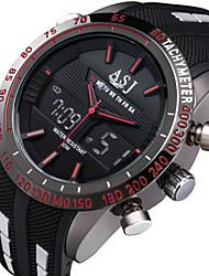 Недорогие -ASJ Муж. Спортивные часы Модные часы электронные часы Японский Цифровой Стеганная ПУ кожа Черный 30 m Защита от влаги Будильник Секундомер Аналого-цифровые Красный Синий Белый / Нержавеющая сталь