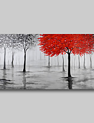 cheap -Oil Painting Hand Painted - Abstract Comtemporary Modern Stretched Canvas Trees Red Grey