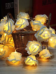 cheap -Battery Powered 2M Rose 20 Led Flower String Lights Wedding Home Birthday Valentine's Day Event Party Garland Luminaria