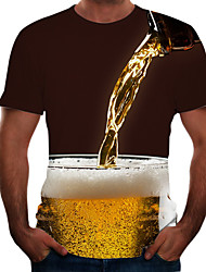 cheap -Men's 3D Graphic Beer Plus Size T-shirt Short Sleeve Going out Tops Basic Round Neck Black