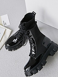 cheap -Women's Boots Flat Heel Round Toe Leather Mid-Calf Boots Spring &  Fall Black