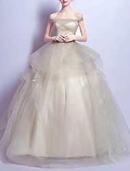 cheap -Ball Gown Minimalist Elegant Engagement Prom Dress Off Shoulder Short Sleeve Floor Length Tulle with Ruched Tier 2021