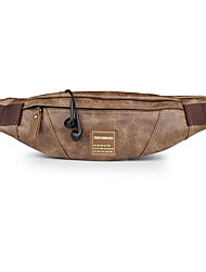 cheap -Men's PU Leather Fanny Pack Bum Bag Solid Color Khaki / Coffee