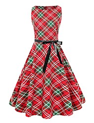 cheap -Women's Red Dress Vintage Style Party Daily A Line Sheath Plaid Black & Red Bow Print S M