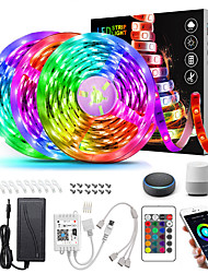 cheap -ZDM 15M(3*5M) LED Light Strips RGB Tiktok Lights Intelligent Dimming App Control Waterproof Flexible 5050 SMD 450 LEDs IR 24 Key Controller with Installation Package 12V 6A Adapter Kit