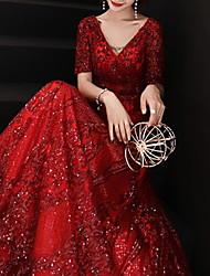 Недорогие -Блестки А-линии Блестки Половина рукава V шеи Длина пола Блестками Пром Вечернее платье