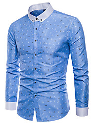 cheap -Men's Plus Size Geometric Houndstooth Blue & White Print Shirt Basic Punk & Gothic Party Daily Button Down Collar White / Blushing Pink / Light Green / Light Blue / Long Sleeve