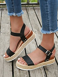 cheap -Women's Sandals Wedge Sandals 2020 Spring & Summer Wedge Heel Open Toe Vintage Minimalism Daily Party & Evening PU Black / White / Light Brown / White