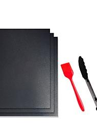 cheap -3 PCs Outdoor Bbq Barbecue Mat Fiberglass Non-stick High Temperature Resistant Black Barbecue Mat Suit One Generation