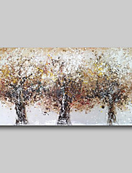 cheap -Oil Painting Hand Painted - Abstract Comtemporary Modern Stretched Canvas Brown Trees