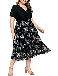 cheap -Women's Black Dress A Line Floral V Neck XL XXL