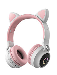 cheap -LITBest Color LED Cat Ear Headphones Bluetooth 5.0 Headset Support TF Card 3.5mm Audio Input FM Function with Mic MP3 Music Player Over Ear Foldable Party Street Fashion