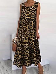 cheap -Women's Shift Dress - Sleeveless Leopard Khaki Brown Gray S M L XL XXL XXXL XXXXL XXXXXL