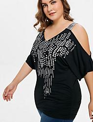 cheap -Women's Geometric Sequins Cut Out T-shirt - Cotton Daily V Neck Black