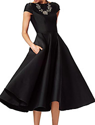 cheap -A-Line Mother of the Bride Dress Elegant Jewel Neck Tea Length Satin Short Sleeve with Ruching 2020