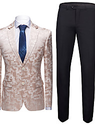 cheap -Tuxedos Tailored Fit Slim Notch Single Breasted Two-buttons Polyester Textured / Fashion