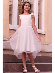 cheap -A-Line Asymmetrical First Communion Flower Girl Dresses - Satin / Tulle Sleeveless Jewel Neck with Solid