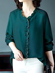 cheap -Women's Solid Colored Ruffle Shirt Daily V Neck Black / Yellow / Blushing Pink / Green / Light Green