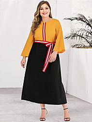 cheap -Women's Plus Size Maxi A Line Dress - Long Sleeve Color Block Solid Color Patchwork Casual Street chic Daily Going out Yellow L XL XXL XXXL XXXXL / Retro