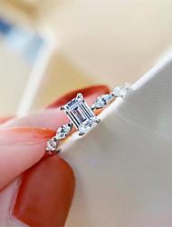 Недорогие -2 карата Синтетический алмаз Кольцо Серебристый Назначение Жен. Изумрудная огранка Стиль Роскошь Классика Элегантный стиль Свадьба Вечерние Официальные Высокое качество Классический