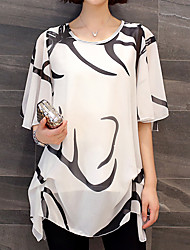 cheap -Women's Plus Size Graphic Black & White Pleated Print Batwing Sleeve Loose Blouse Basic Daily Weekend White / Black