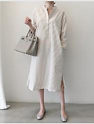 cheap -Women's Blue Beige Dress Shift Solid Color S M
