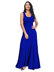 cheap -Women's Sheath Dress - Sleeveless Solid Color Patchwork Strap Crew Neck Black Army Green Orange Royal Blue Gray S M L XL XXL XXXL