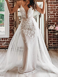cheap -A-Line Wedding Dresses Spaghetti Strap Plunging Neck Court Train Detachable Lace Tulle Sleeveless Country Plus Size with Appliques 2020