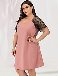 cheap -Women's Plus Size A Line Dress - Short Sleeves Solid Color Lace Patchwork Deep U Sexy Cute Daily Going out Belt Not Included Blushing Pink L XL XXL XXXL XXXXL
