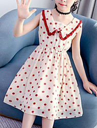cheap -Kids Girls' Cute Street chic Polka Dot Patchwork Ruffle Patchwork Sleeveless Dress Beige