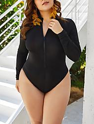 cheap -Women's Plus Size One-piece Swimwear Swimsuit - Paisley Solid Colored 2XL 3XL XXXXL Black
