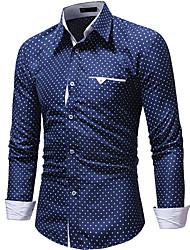 cheap -Men's Polka Dot Shirt Sports White / Navy Blue / Long Sleeve