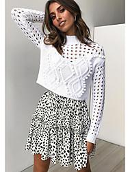 cheap -Women's Mini A Line Skirts - Polka Dot White Black S M L