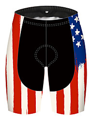 cheap -21Grams Men's Cycling Shorts Spandex Polyester Bike Shorts Padded Shorts / Chamois Pants Breathable 3D Pad Quick Dry Sports American / USA National Flag Black / Red Mountain Bike MTB Road Bike Cycling