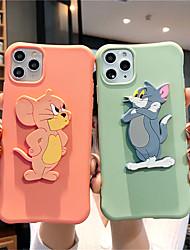 Недорогие -чехол для apple, iphone 11 11 про 11 про макс кошка и мышь окрашены узором творческий стенд сплошной цвет тпу материал четыре угла падение доказательство xiaoman талии чехол для телефона