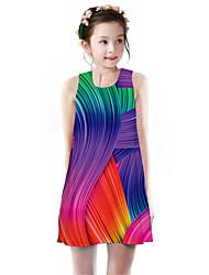 cheap -Kids Girls' Basic Cute Rubik's Cube Geometric Rainbow Animal Print Sleeveless Knee-length Dress Rainbow