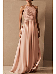 cheap -A-Line Halter Neck Floor Length Chiffon / Shantung Bridesmaid Dress with Ruching